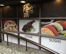 Window graphics with food photography